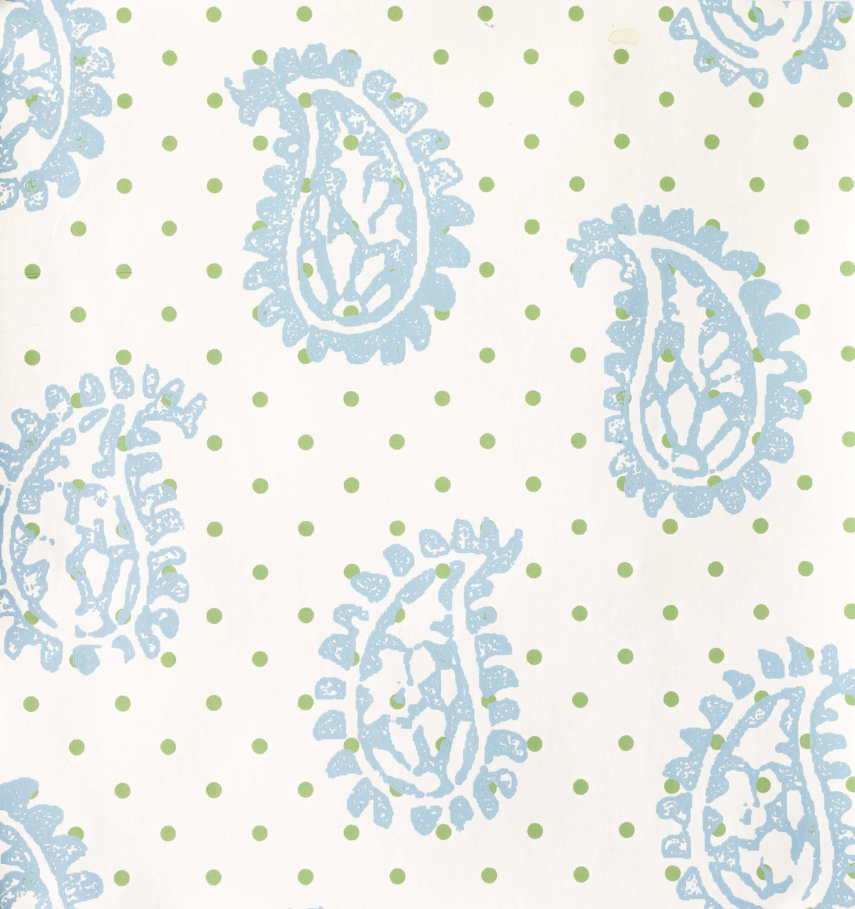 Firenze French Blue with Spring Green Dots Wallpaper