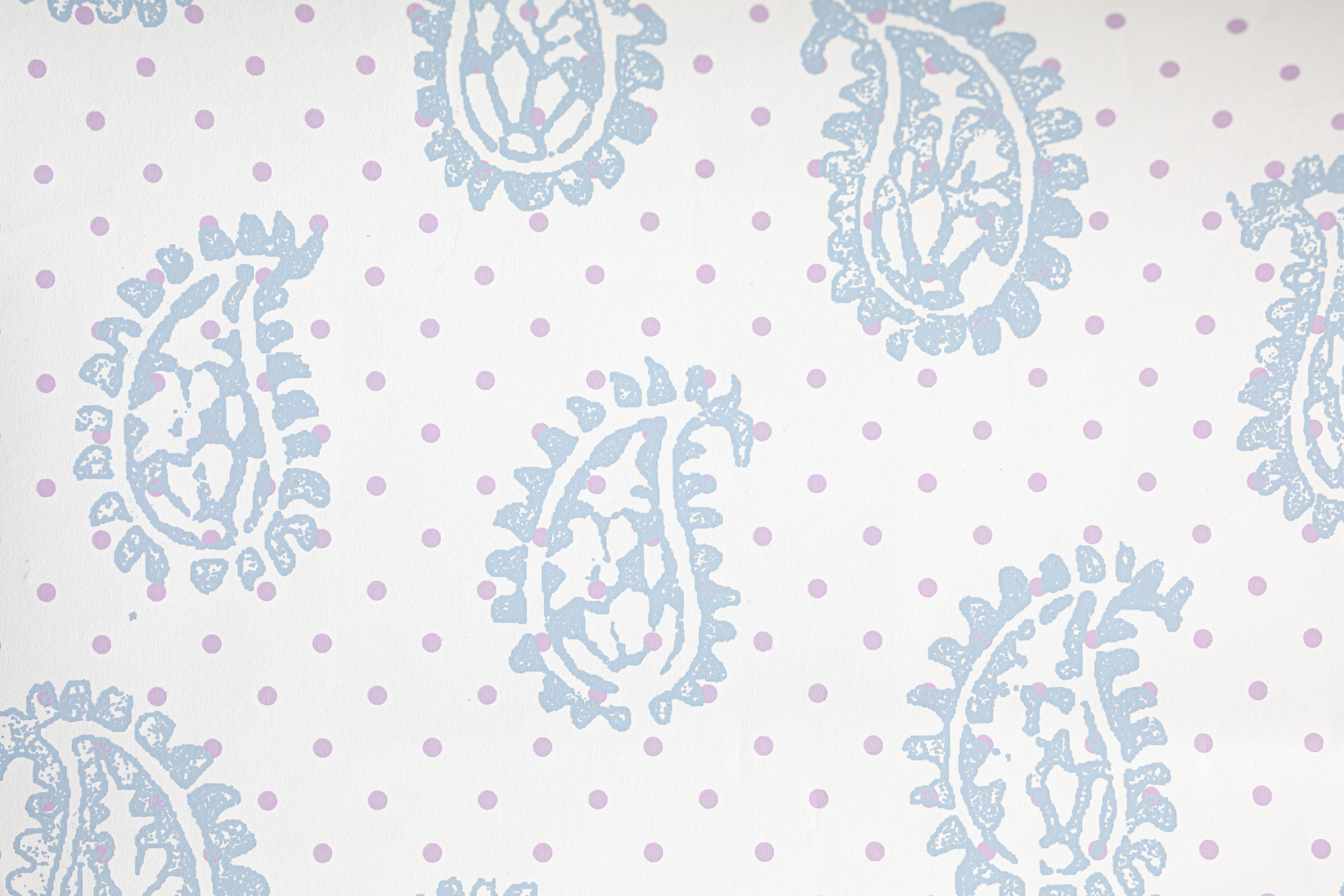 Firenze Wallpaper French Blue with Lavender Dots